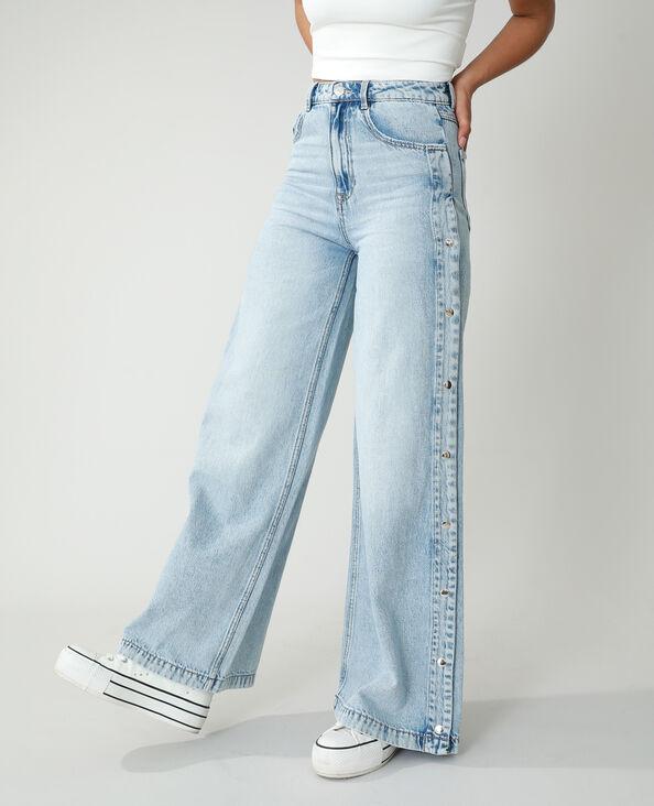 Jean wide leg high waist pressionné bleu clair - Pimkie
