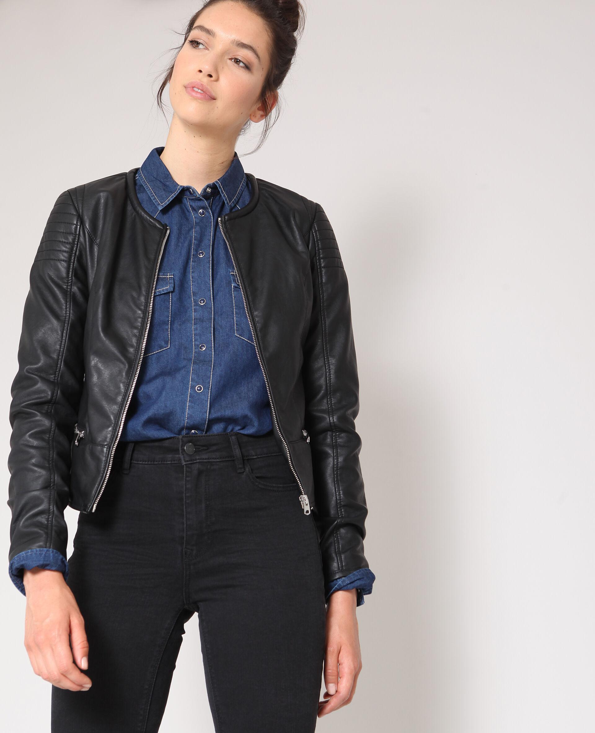 Veste simili cuir femme bleu