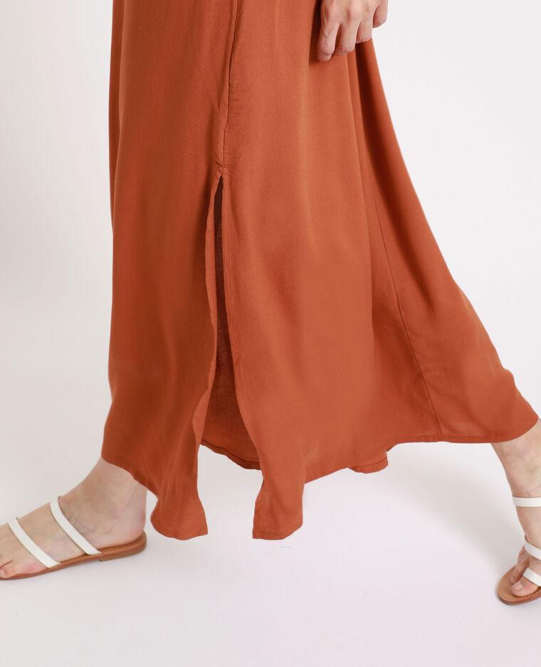 Robe longue encolure américaine marron