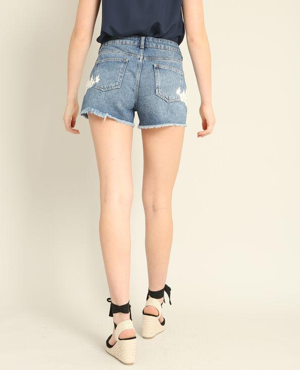 Short en jean brodé bleu denim