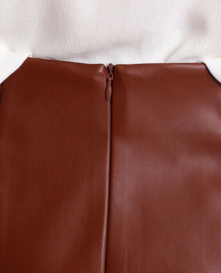 Jupe midi en simili cuir marron