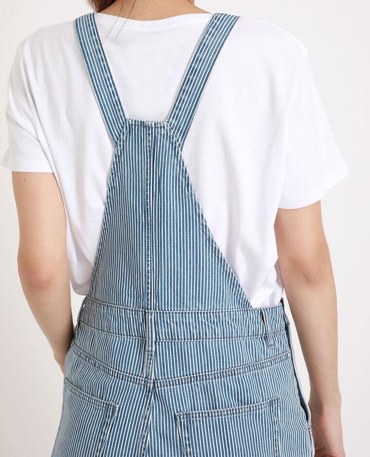 Salopette en jean rayée bleu