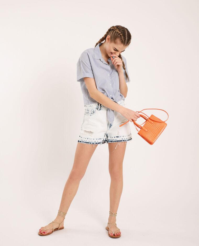 Short en jean acid wash bleu clair