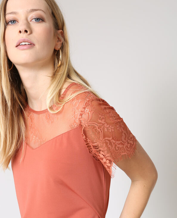 T-shirt dentelle terracotta