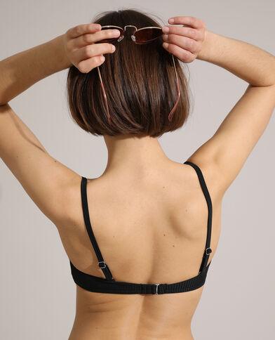 Haut de maillot corbeille push-up côtelé noir