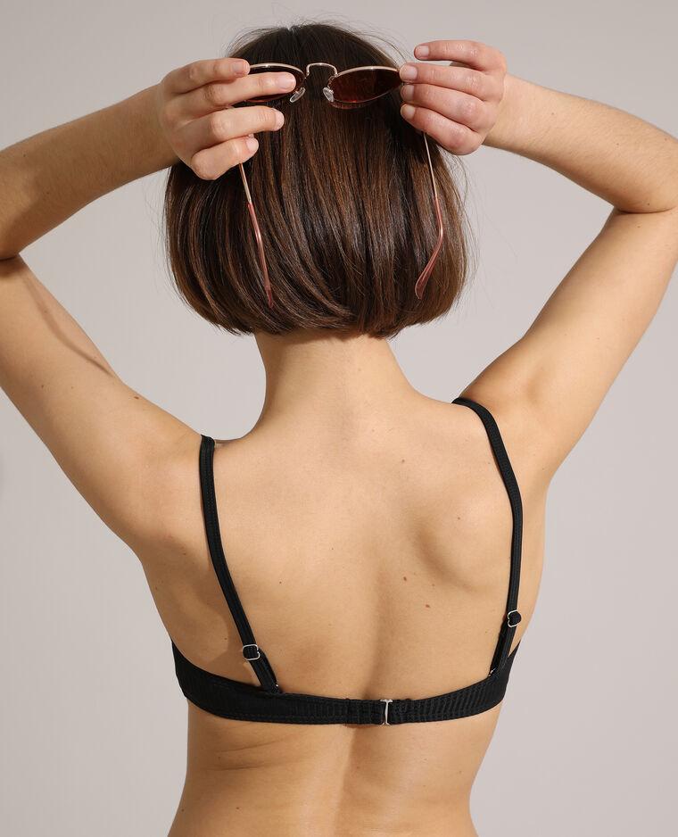 Haut de maillot de bain corbeille push-up côtelé noir - Pimkie