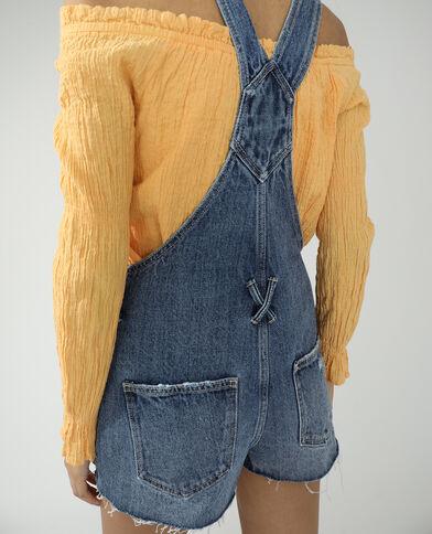 Salopette short en jean bleu denim - Pimkie