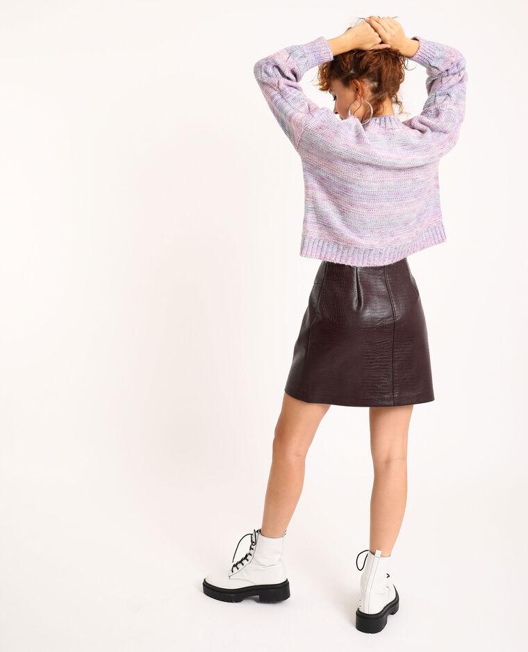Jupe zippée faux cuir grenat - Pimkie