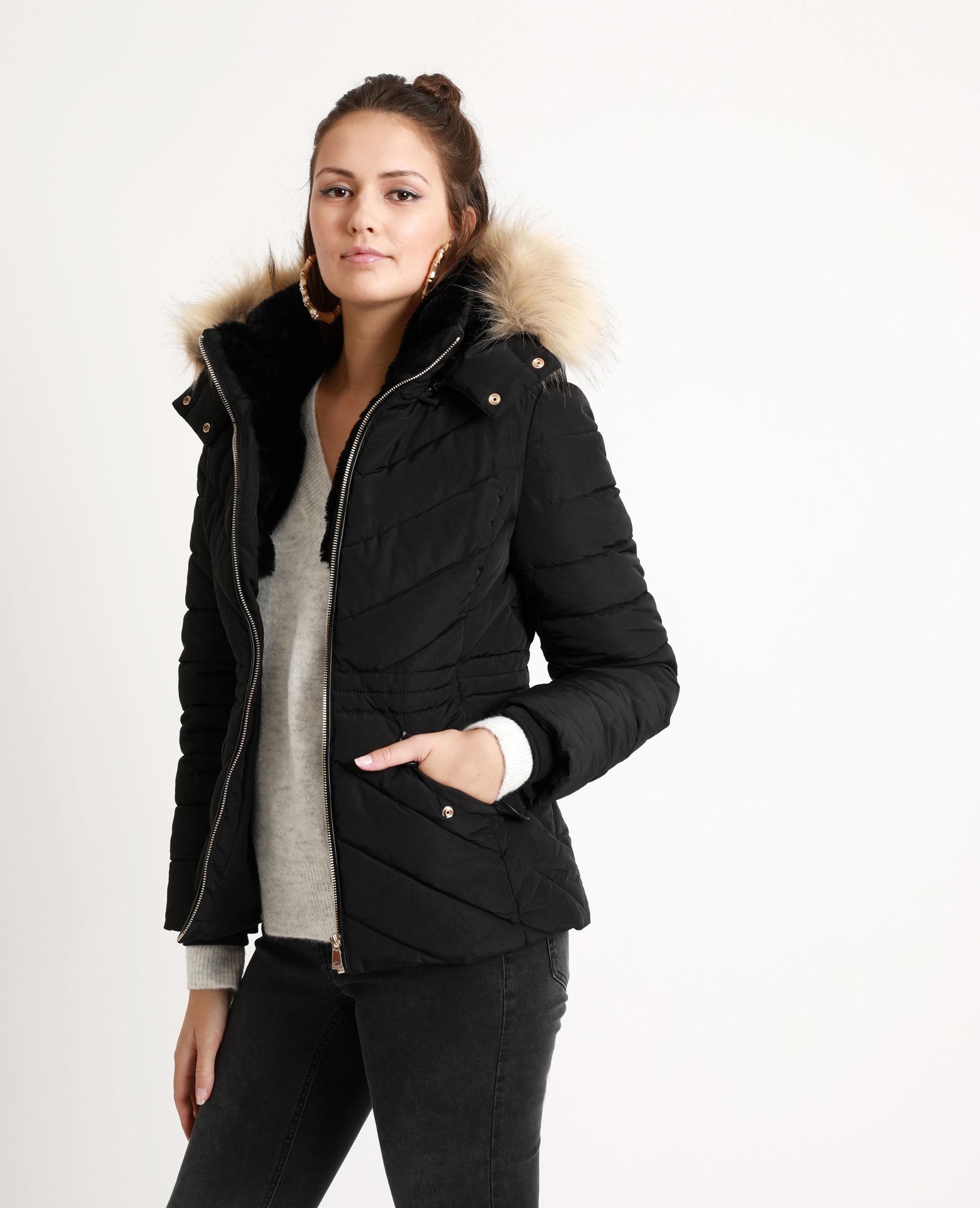 Manteau femme fourre a l'interieur