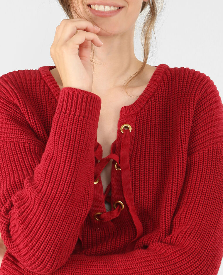 Pull maille à lacets rouge