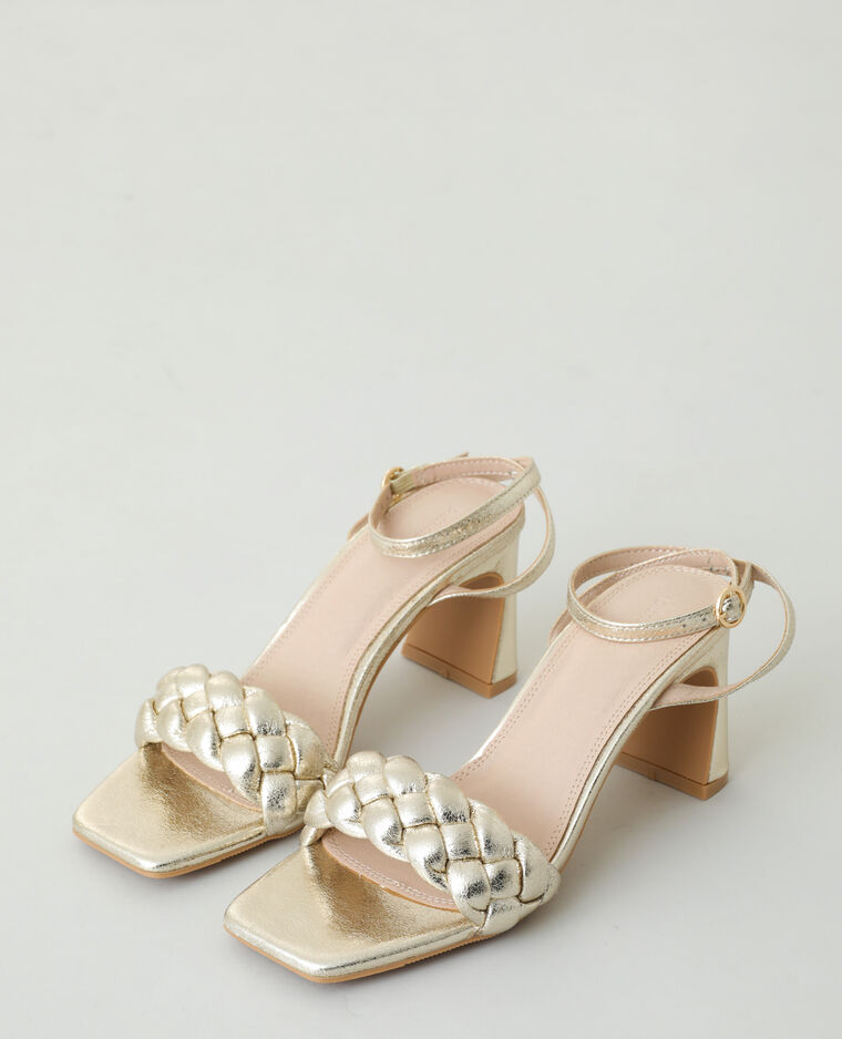 Sandales tressées à talons doré - Pimkie