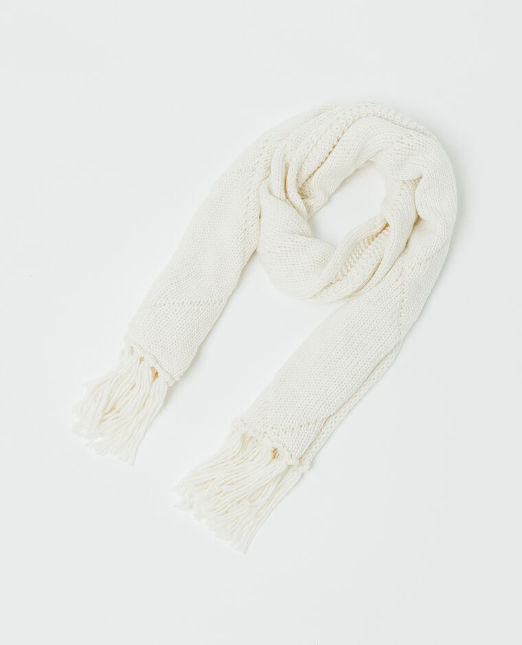 Echarpe à torsades blanc cassé