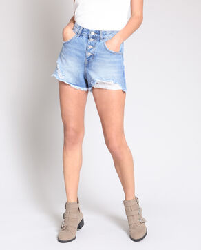 Short en jean mum bleu
