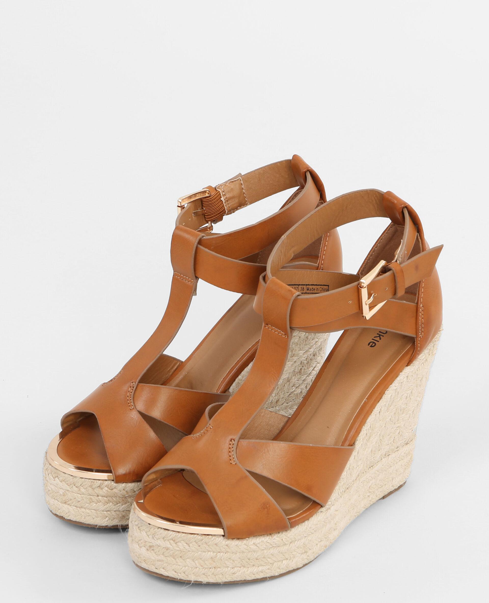 Sandales compensées marron; Sandales compensées marron