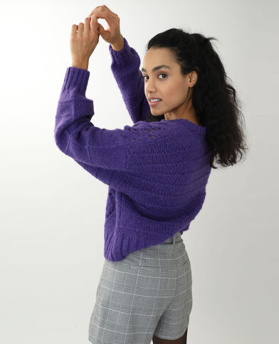 Pull ajouré violet