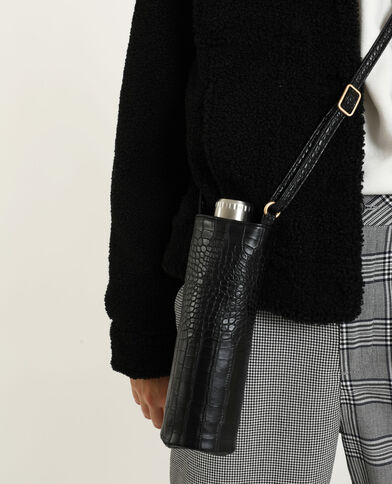 Porte-gourde en faux cuir noir