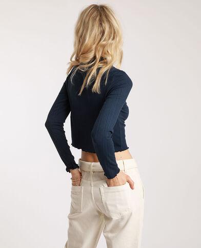 Crop top à manches longues bleu marine - Pimkie