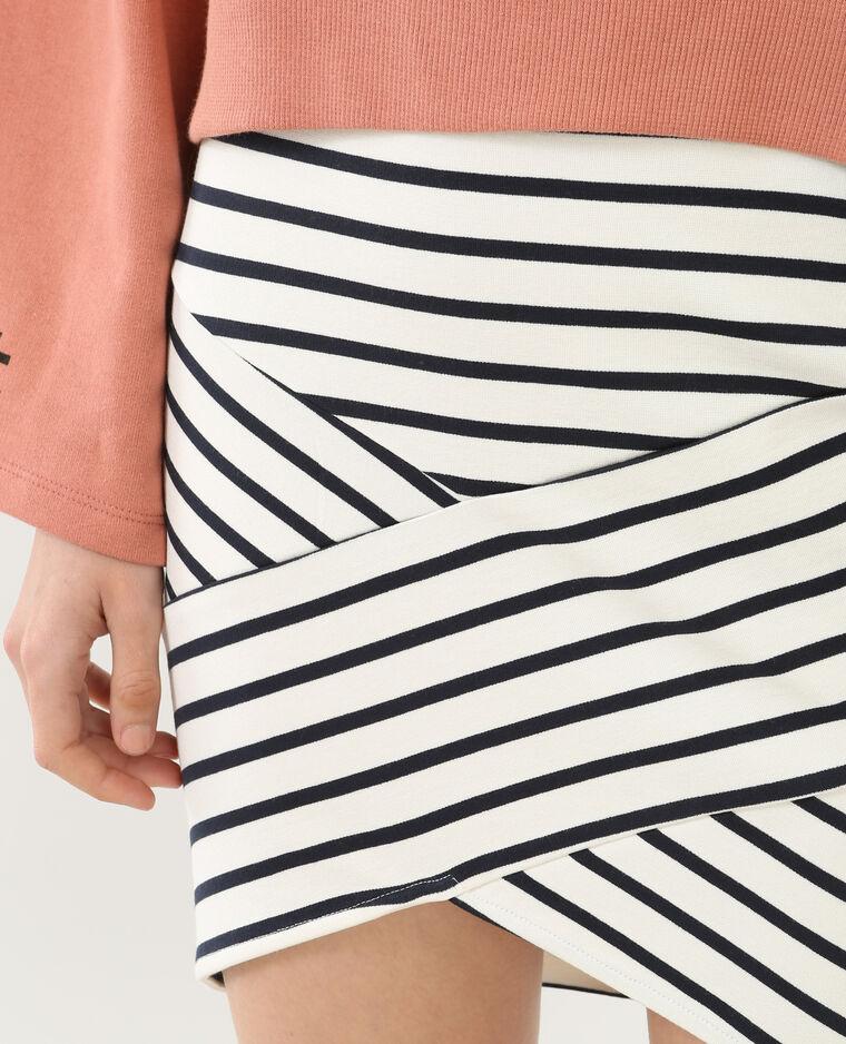 Mini jupe bodycon rayée écru