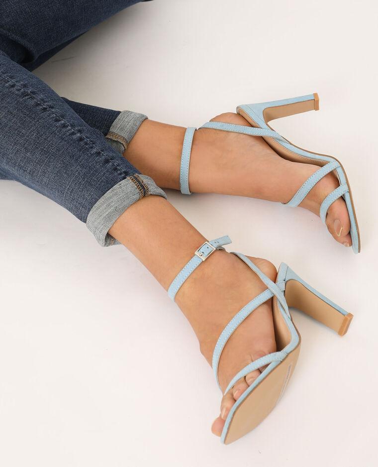 Sandales à talons bleu ciel