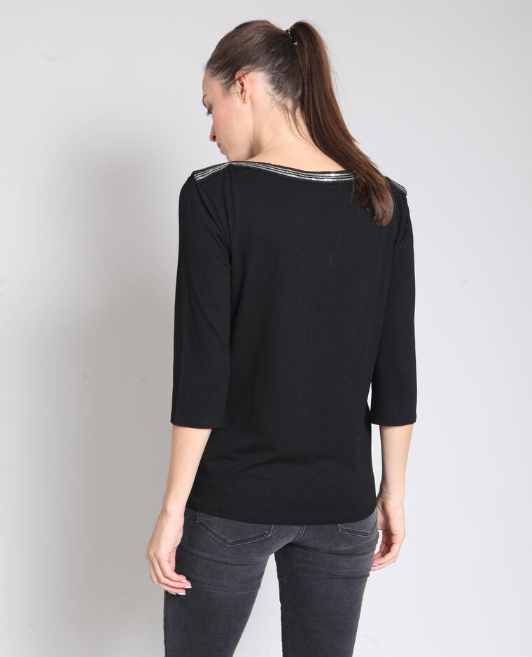 T-shirt à bijoux noir