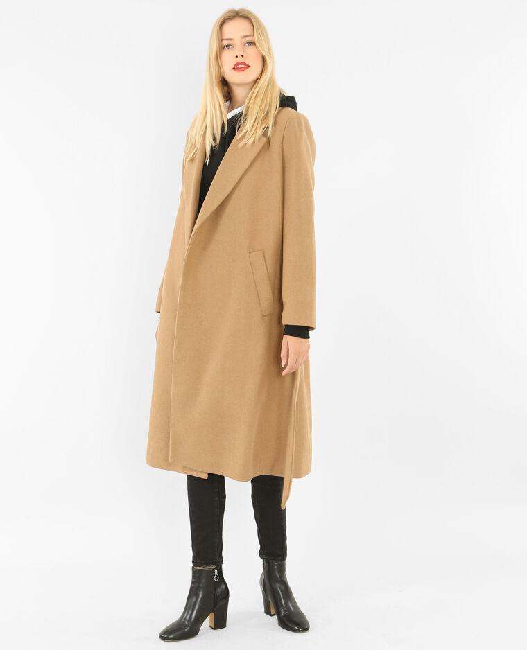 Long manteau drap de laine caramel