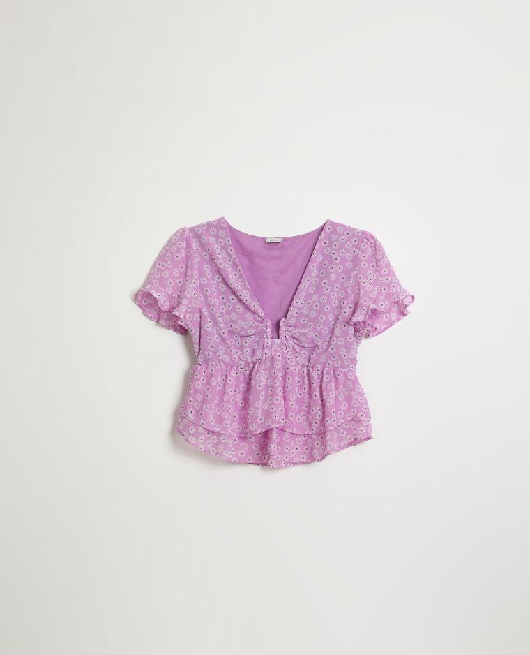 Blouse volantée et fleurie violet - Pimkie