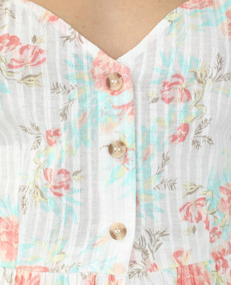Top fleuri boutonné blanc - Pimkie