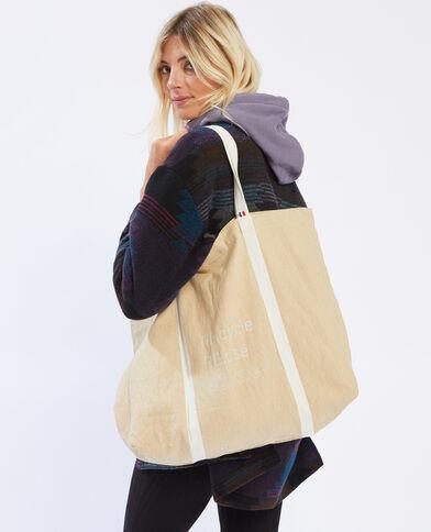 Grand tote bag 100% recyclé beige - Pimkie