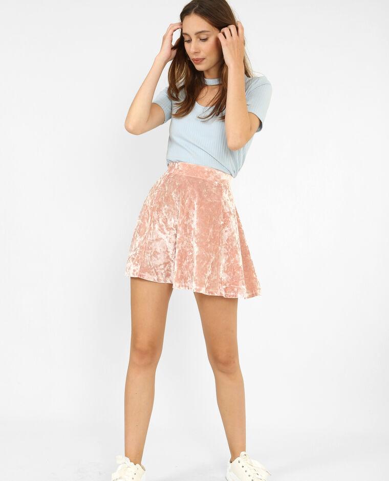 Mini jupe patineuse effet velours rose
