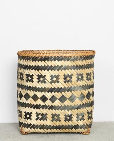 Panier en bambou tressé noir