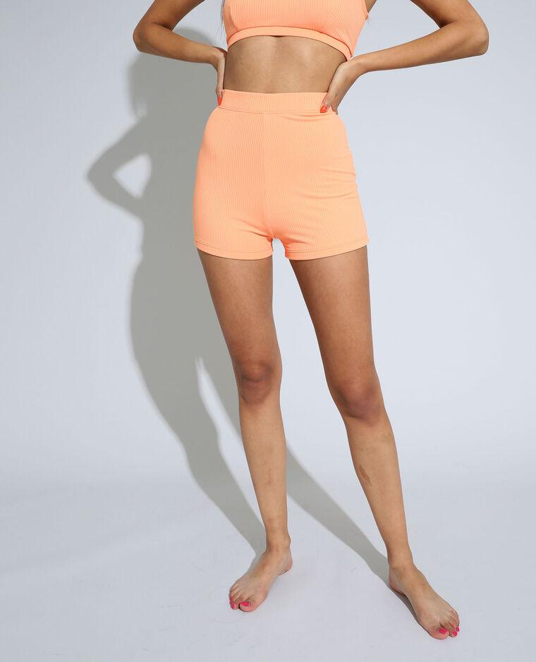 Bas de maillot de bain shorty côtelé orange - Pimkie