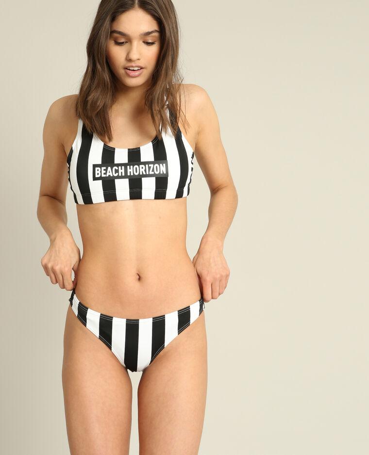 Bas de bikini à rayures écru