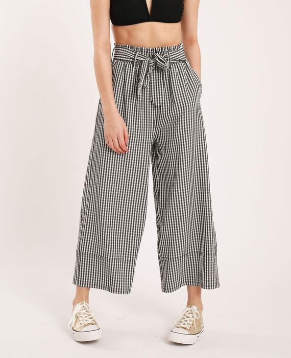 Pantalon large à carreaux noir
