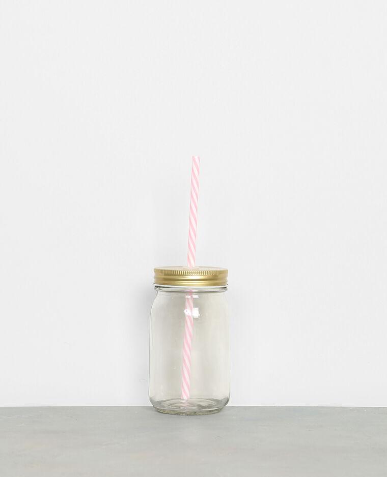 Mug en verre avec paille cuivré