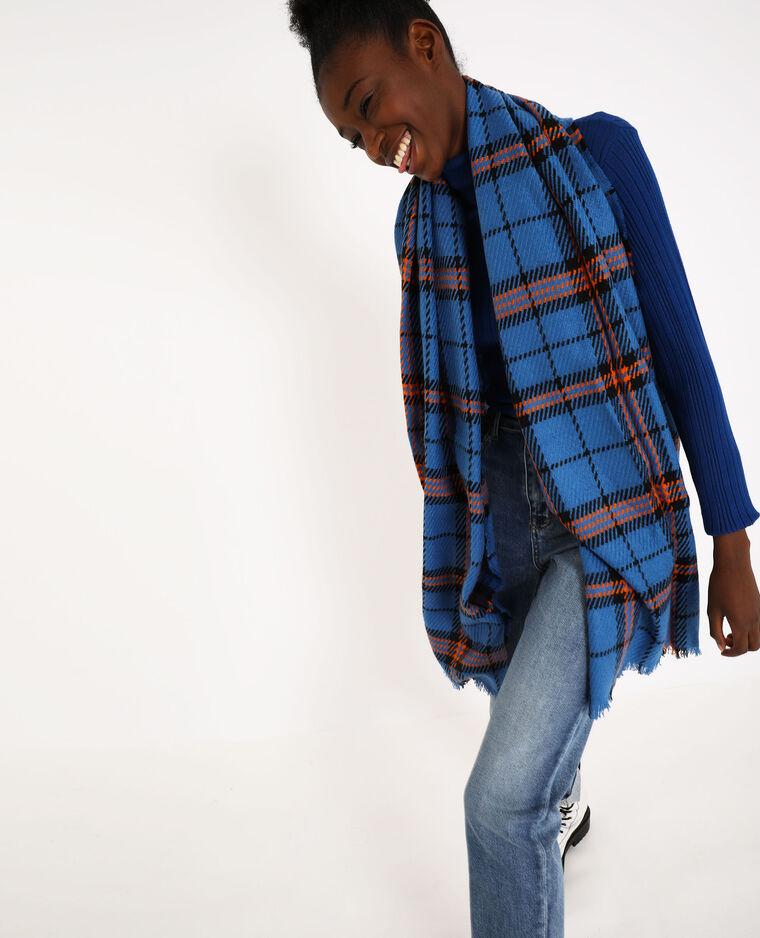 Echarpe à carreaux bleu