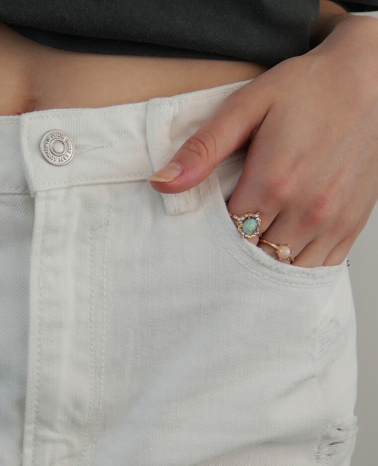 Short en jean high waist écru - Pimkie