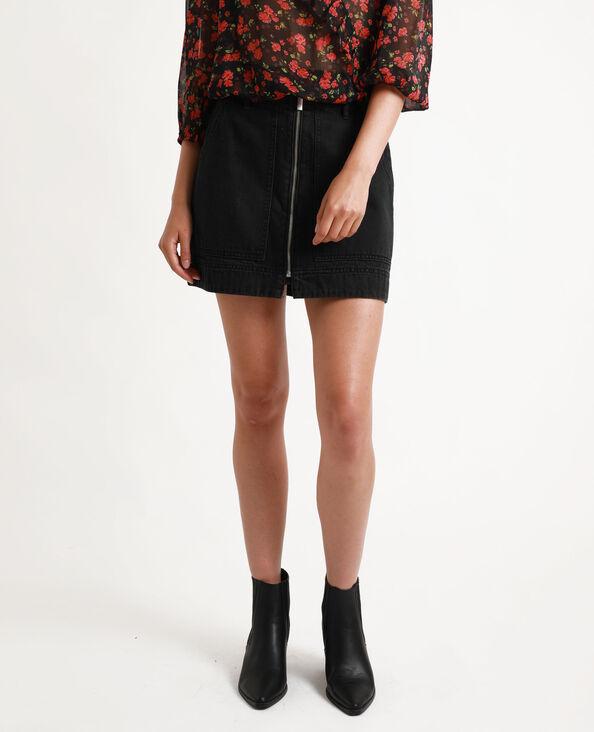 Jupe en jean zippée noir