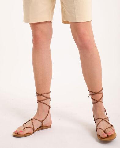 Sandales plates tressées marron