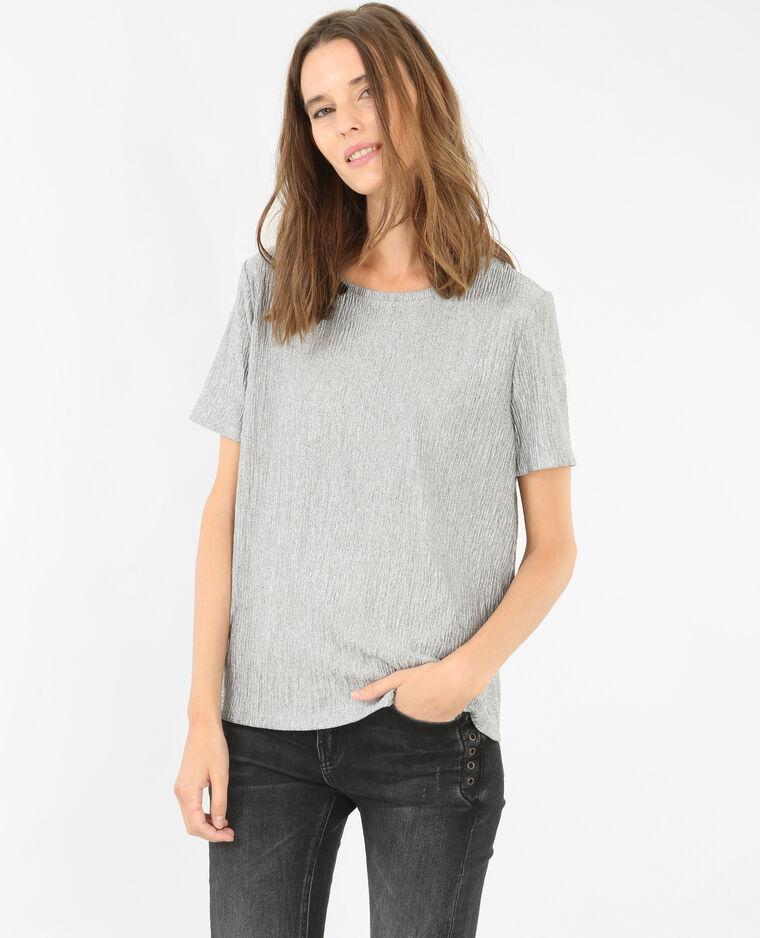 T-shirt métallisé gris argenté