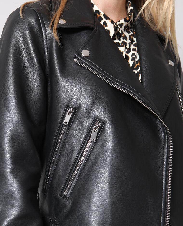 Blouson biker simili cuir noir - Pimkie