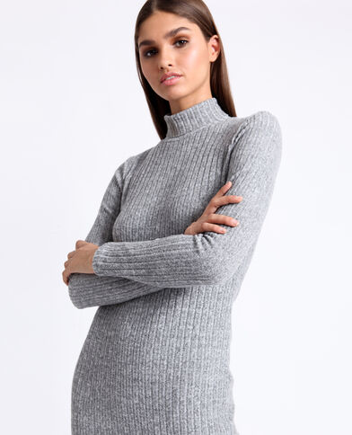 Robe longue gris chiné