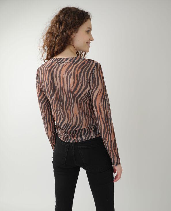 T-shirt zébré transparent marron - Pimkie
