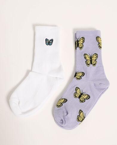 Lot de 2 paires de chaussettes papillons violet - Pimkie
