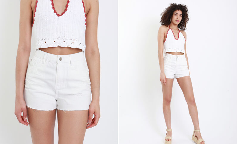 Short en jean high waist blanc