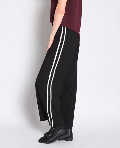 Pantalon large à bandes noir