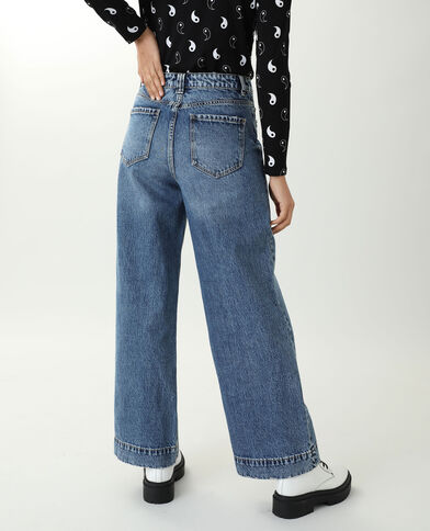 Jean wide leg high waist bleu denim