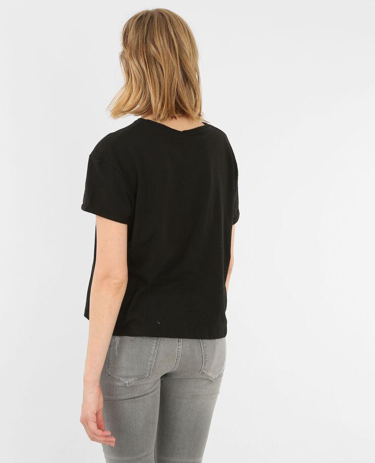 T-shirt bande léopard noir