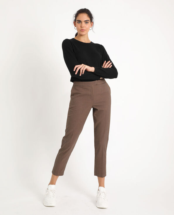 Pantalon city à carreaux noir + marron