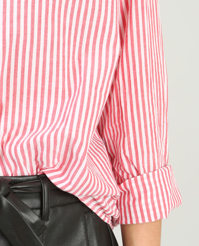 Chemise popeline rayée rouge