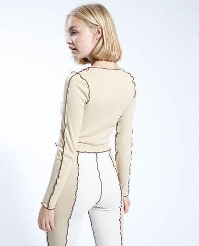 T-shirt à lacets bicolore écru - Pimkie